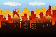 Stadspanoramaillustration Fotografering för Bildbyråer