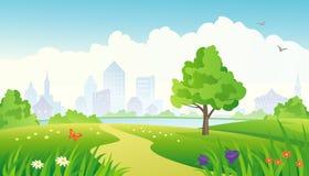 stadspark långt Royaltyfri Foto