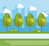 Stadspark met natuurlijke bomen en gebouwen royalty-vrije illustratie