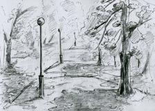 stadsparken skissar Arkivbild