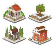 Stadspictogrammen, gebouwen, park detailes Stock Foto's