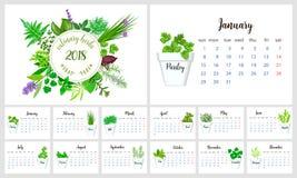 Stadsplaneraredesign för 2018 kalender kulinariska örtar Royaltyfria Bilder