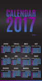 Stadsplaneraredesign för 2017 kalender Månatlig kalender för vägg för året Royaltyfria Foton