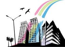 stadsregnbåge royaltyfri illustrationer