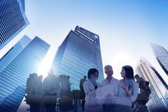 StadsScape affär Team Teamwork Meeting Collaboration Concept royaltyfri bild