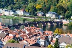 Stadsscape i dalen för Hiedelberg ` s Arkivbild
