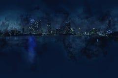 Stadsscape i den mörka natten Royaltyfria Foton