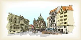 Stadsscape i Tyskland Berlin domkyrka Gammal dragen byggnadshand royaltyfri illustrationer