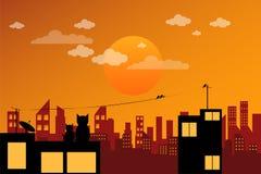 Stadsscapesolnedgång stock illustrationer