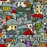 Stadsschets, naadloos patroon voor uw ontwerp Stock Foto's