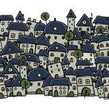 Stadsschets, naadloos patroon voor uw ontwerp Royalty-vrije Stock Afbeeldingen