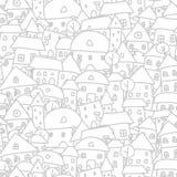 Stadsschets, naadloos patroon voor uw ontwerp Stock Fotografie