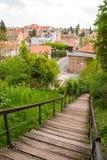 Stadssikt av gammal stad- och Kozarske trappa i Zagreb Royaltyfria Foton