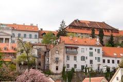 Stadssikt av hus på Medvescak Arkivbild