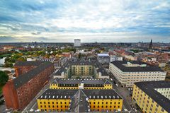 Stadssikt av Köpenhamnen Arkivfoto