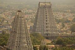 Stadssikt av staden av Tiruvanumalai, Tamilnadu, Indien Fotografering för Bildbyråer