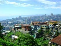 Stadssikt av Valparaiso Arkivfoto