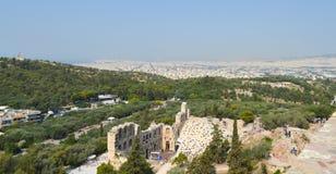 Stadssikt från akropolen i Aten, Grekland på Juni 16, 2017 Arkivbilder