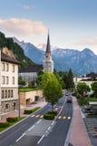 Stadssikt i Vaduz, Liechtenstein royaltyfri foto