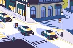 Stadssikt med bilkörning längs vägen, moderna byggnader, tvärgata med trafikljus och zebramarkeringar eller vektor illustrationer