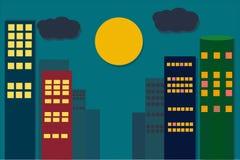 Stadssikt med månen på natten vektor illustrationer