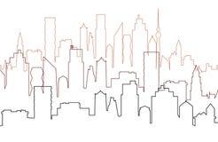 Stadssikt med skyskrapor, cityscapekontur Vektor Illustrationer