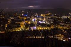 Stadssiktsnatt i Ljubljana Arkivfoto