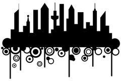 stadssilhouetteskyskrapor Arkivbild