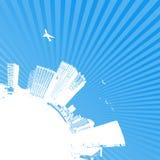 stadssilhouettesoluppgång stock illustrationer