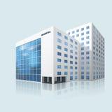 Stadssjukhusbyggnad med reflexion Arkivfoto