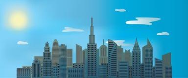 Stadsskyskrapor i dagen med solen och molnen i blå himmel vektor illustrationer