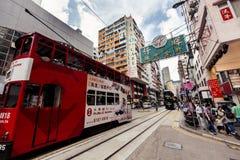 Stadsspårvagnar i Hong Kong royaltyfri fotografi