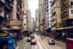 Stadsspårvagnar i Hong Kong arkivfoto