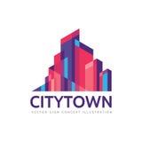 Stadsstad - de illustratie van het het malplaatjeconcept van het onroerende goederenembleem Abstract de bouwcityscape teken Wolke Stock Afbeeldingen