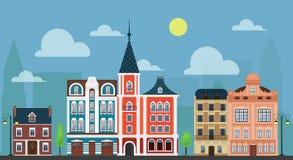 Stadsstadcityshape Lyxiga gammalmodiga hus och andra byggnader vektor illustrationer