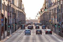 Stadsstraat in Brussel Stock Afbeeldingen