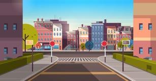 Stadsstraat cityscape van de de architectuur de lege weg van de bouwhuizen stedelijke vroege horizontale banner van de binnenstad stock illustratie