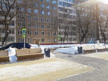 Stadsstraat, de winter, Rusland royalty-vrije stock fotografie