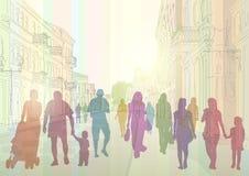 Stadsstraat en mensensilhouetten Royalty-vrije Stock Foto