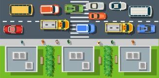 Stadsstraat met asfalt vector illustratie