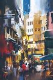 Stadsstraat met digitale kunststijl vector illustratie