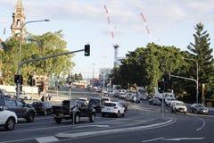 Stadsstraat in spitsuur Stock Foto