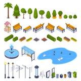 Stadsstraten en de openbare elementen van het park 3d isometrische ontwerp Vector stedelijke openluchtlandschapspictogrammen royalty-vrije illustratie