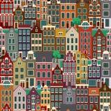 Stadsstraten met oude gebouwen, naadloos patroon Stock Fotografie