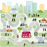 Stadsstraten met voetgangers en verkeer stock illustratie