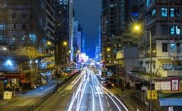 Stadsstraten van Kowloon, Hong Kong, China Stock Foto