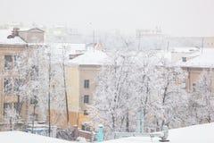 Stadstak och träd efter tungt snöfall i morgonen royaltyfria bilder