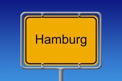 Stadstecken Hamburg Royaltyfri Bild