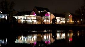 stadstjecken tänder den nattprague republiken royaltyfri fotografi
