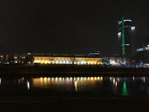 stadstjecken tänder den nattprague republiken fotografering för bildbyråer